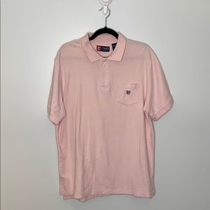 Chaps pink short sleeve men polo with pocket sz L